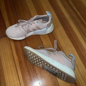 Adidas NMD R1 light pink and white sneakers